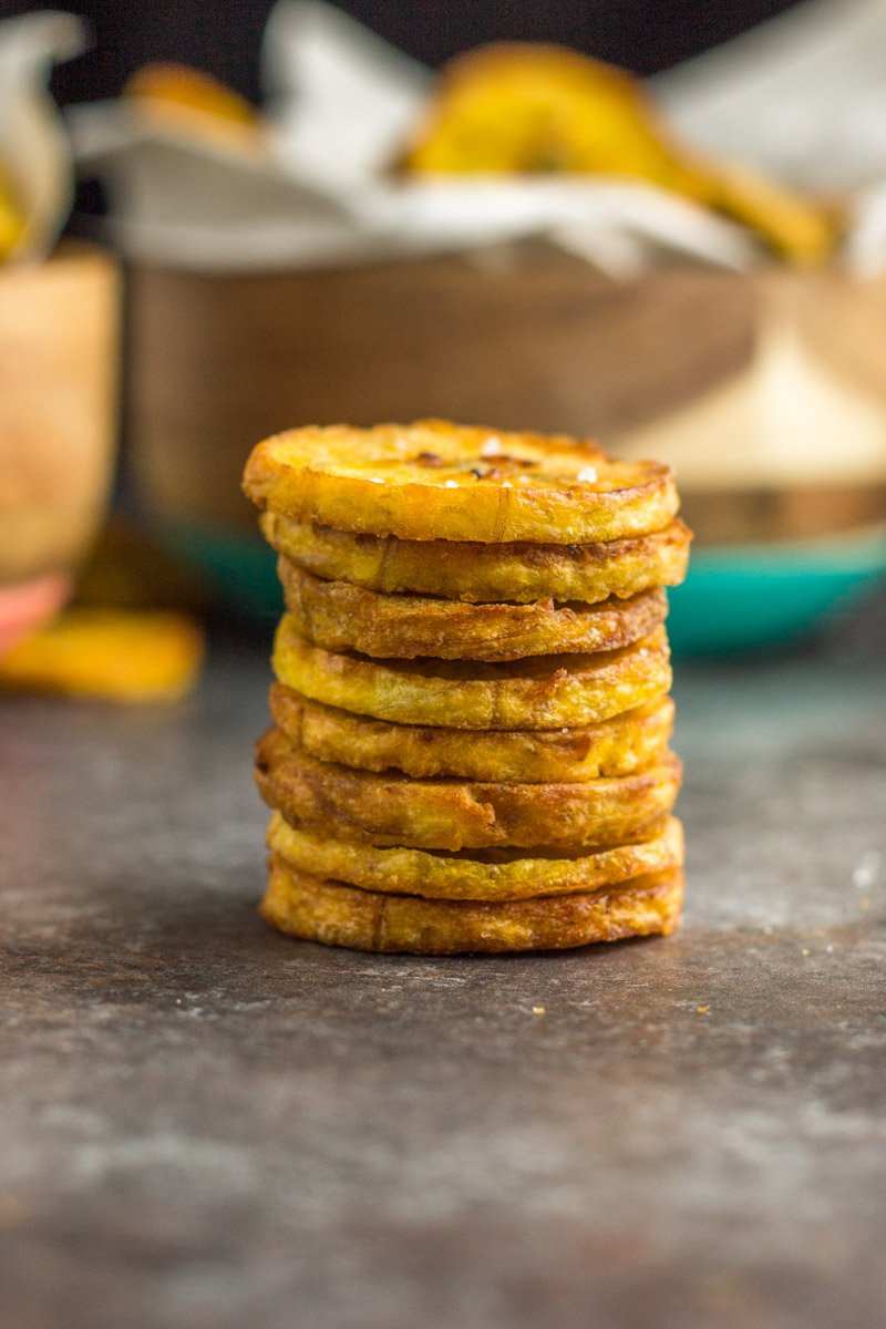 Crispy plantain chips made in the Instant Pot or pressure cooker
