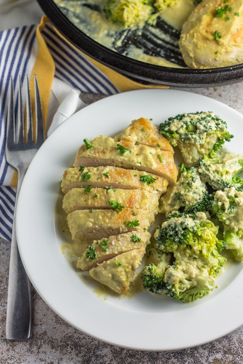 Dairy free based 'cheese', this 30 minute skillet meal is paleo and whole30