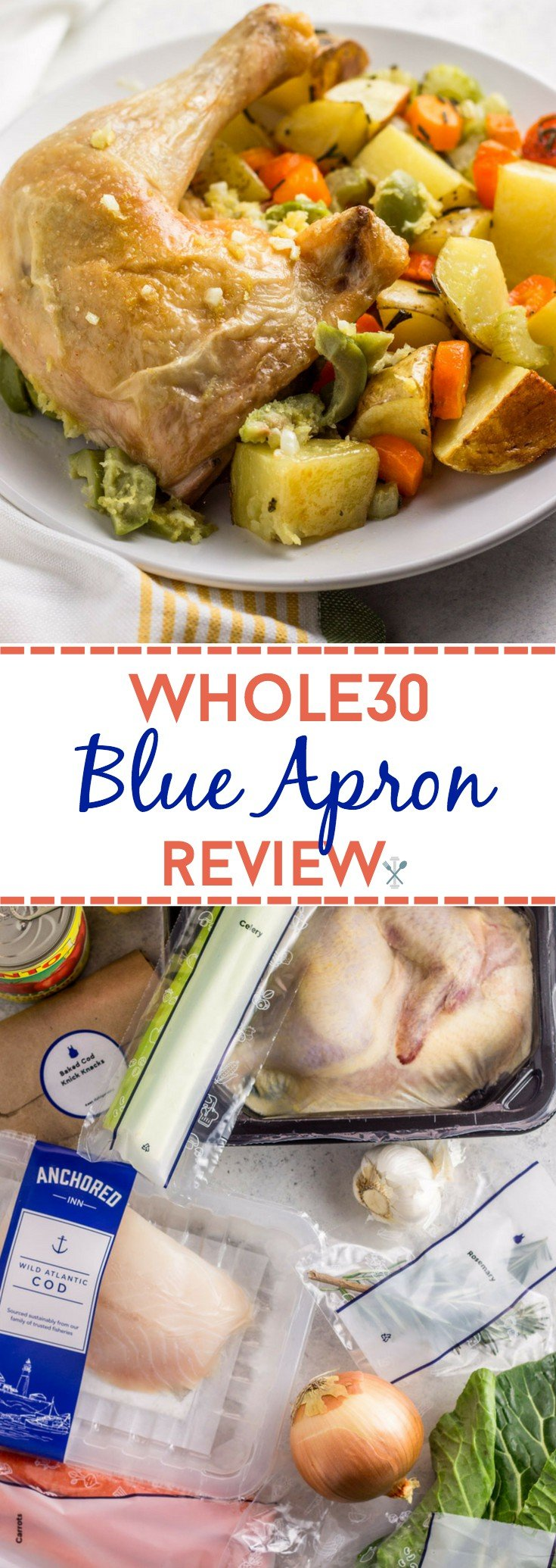 This Whole30 Blue Apron review details my experience with Blue Apron, making Whole30 easier and stress free. Delicious meals straight to your door!