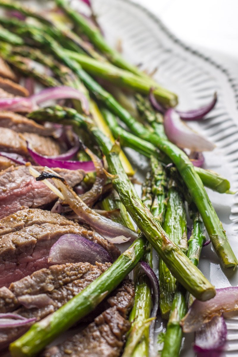 Whole30 sheet pan flank steak and asparagus