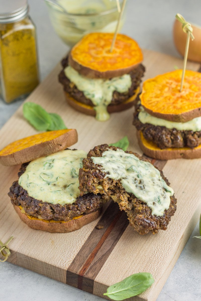 Thai beef curry burgers. A simple Whole30 meal with a delicious basil curry aioli