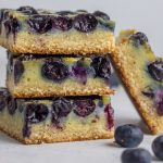 These nut-free, paleo blueberry custard pie bars are the best treat for spring! Gluten free, dairy free