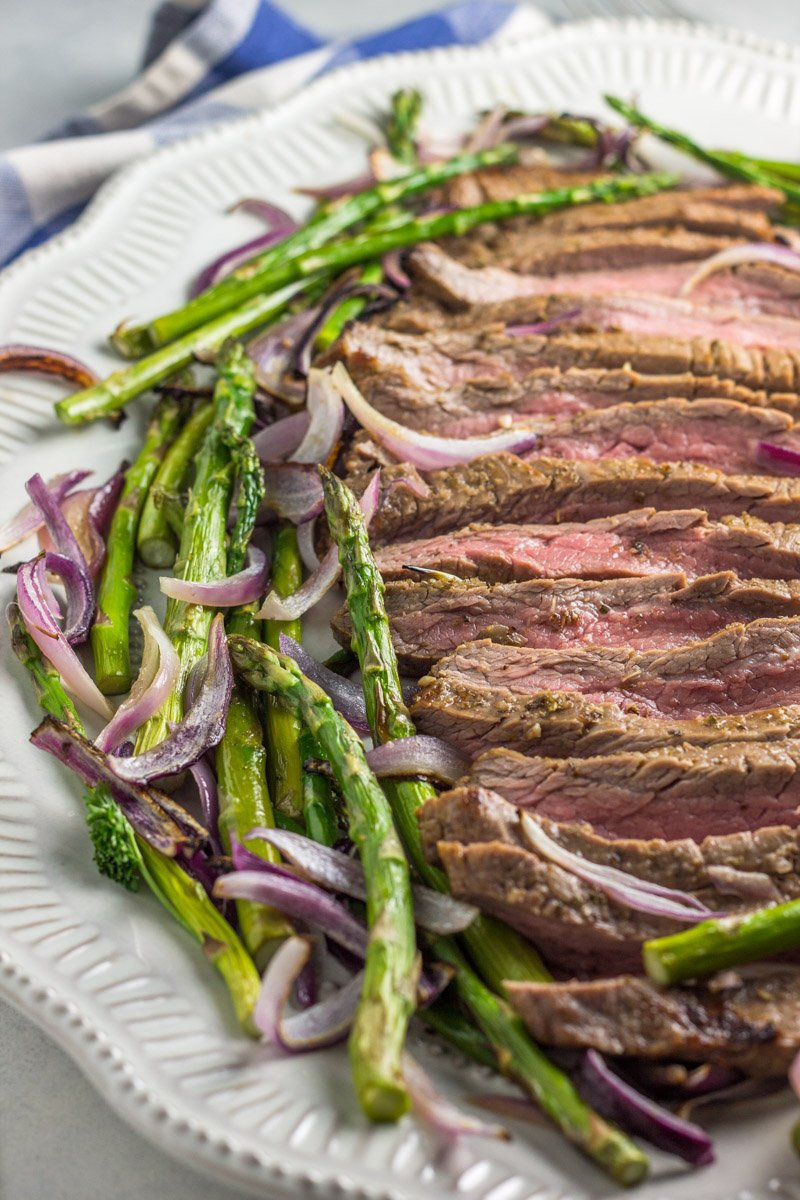 Oven roasted flank steak and veggies - a simple, flavorful dinner in under 20 minutes