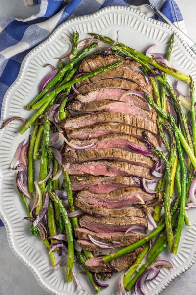 Sheet Pan Flank Steak with Onions and Asparagus