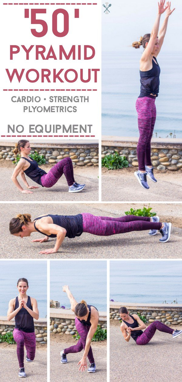 This ladder-style pyramid workout incorporates cards and plyometrics with body weight training for a quick, effective home workout without the need for equipment!