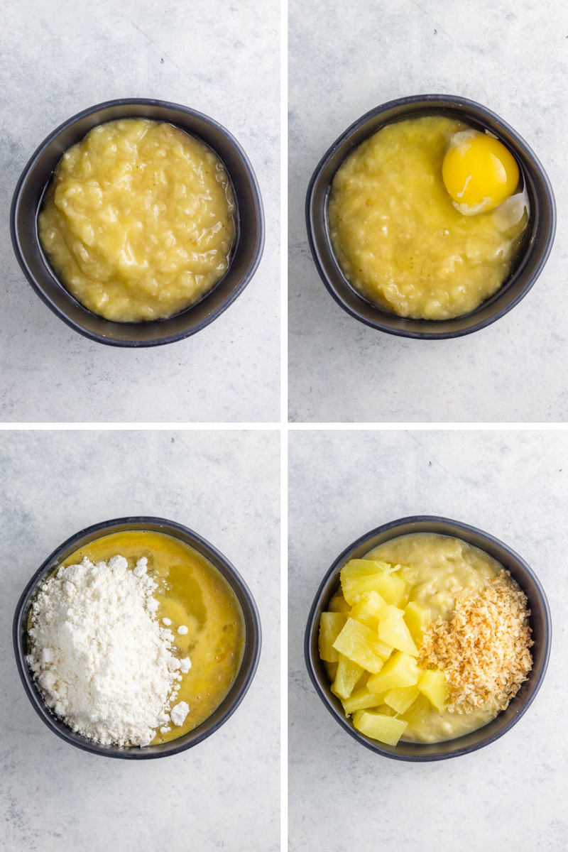Simple ingredients to make paleo banana pineapple coconut mug cake