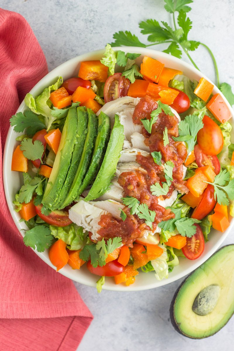 Leftover chicken can be used in so many ways! Like this healthy paleo (and Whole30) taco salad