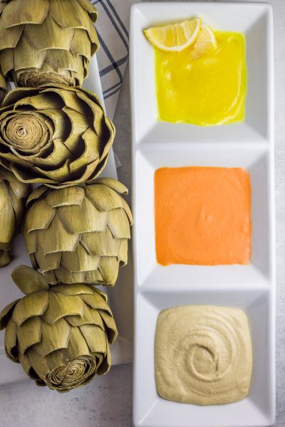 Instant Pot Artichokes with 3 Paleo Dipping Sauces