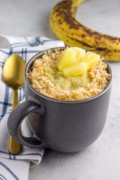 Paleo Banana Pineapple Coconut Mug Cake