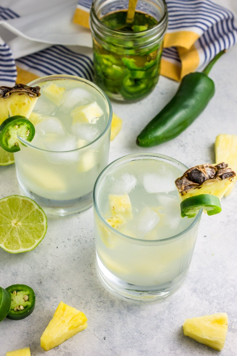 A delicious and light cocktail with pure pineapple juice and homemade jalapeño vodka