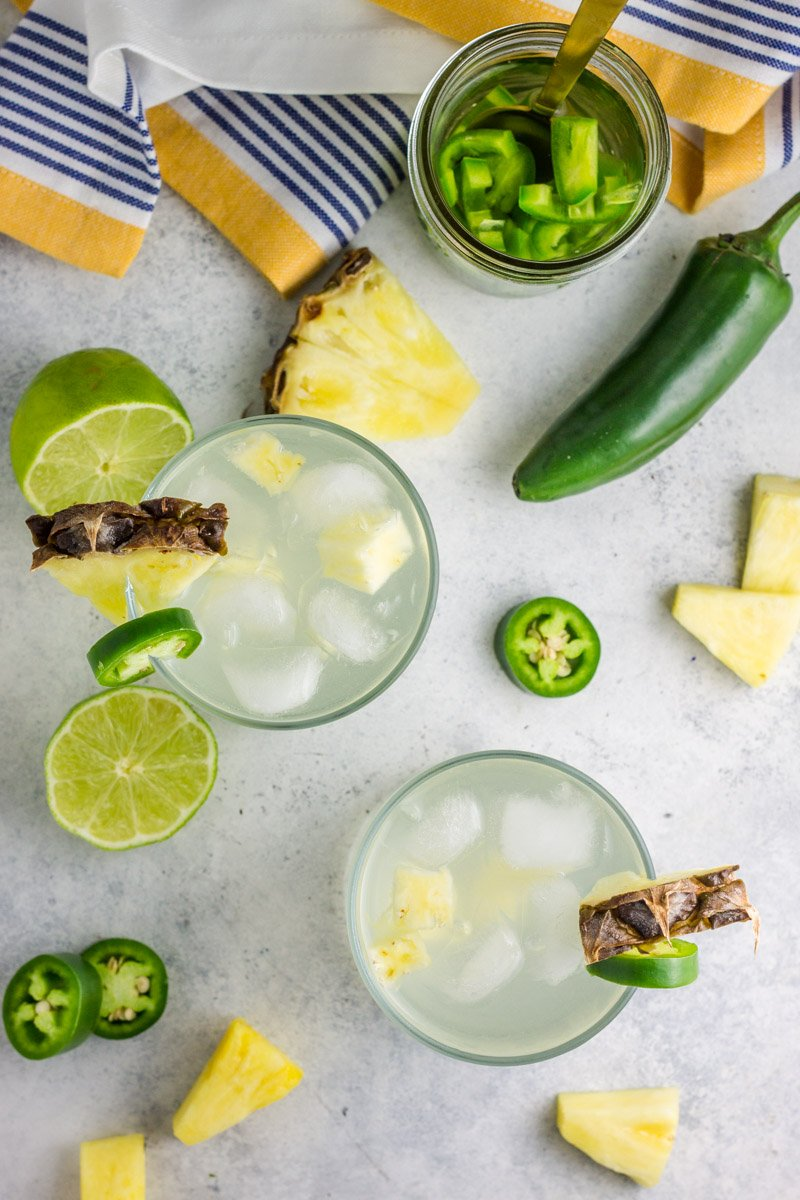 A simple cocktail that's easy and delicious! Low calorie pineapple and jalapeño infused vodkas