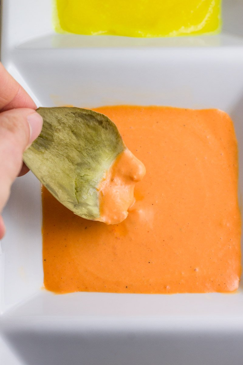 A perfect aioli with roasted red pepper blended in - great for steamed artichokes