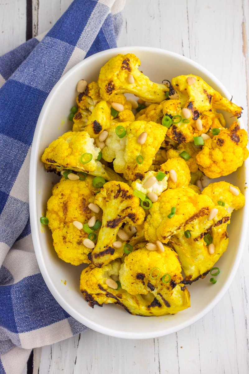 This grilled golden cauliflower is paleo and Whole30 compliant. Anti-inflammatory and delicious!