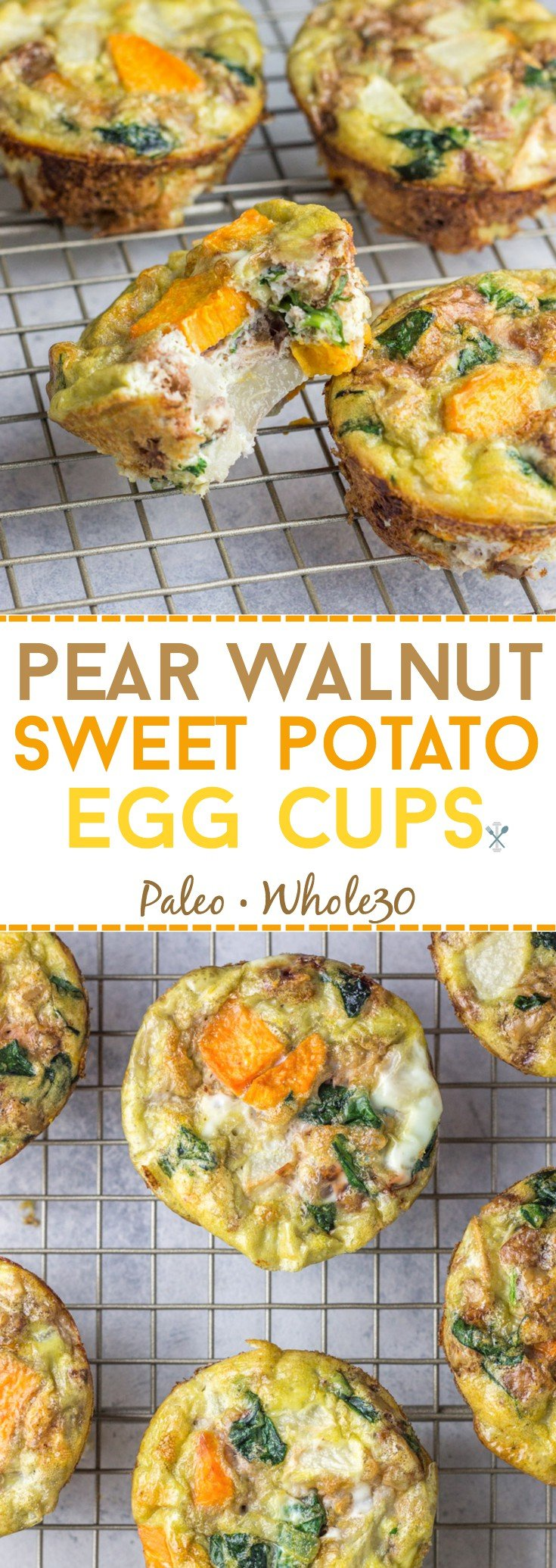 A new twist on egg cups! These are packed with sweet pears, toasted walnuts, and sweet potatoes. You'll love these paleo and Whole30 egg muffins. Meatless and portable.