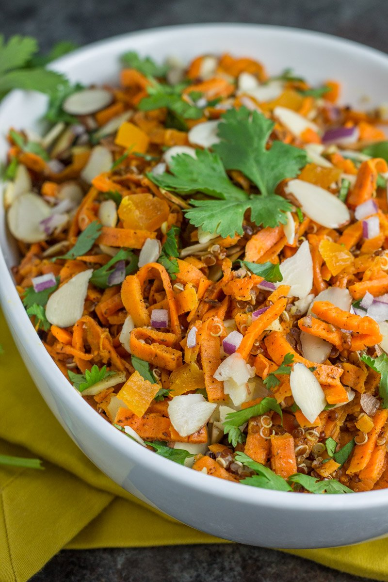 The easiest, and most unique healthy salad ever! You'll be obsessed with this sweet potato noodle + quinoa Moroccan salad. The flavor is unreal!