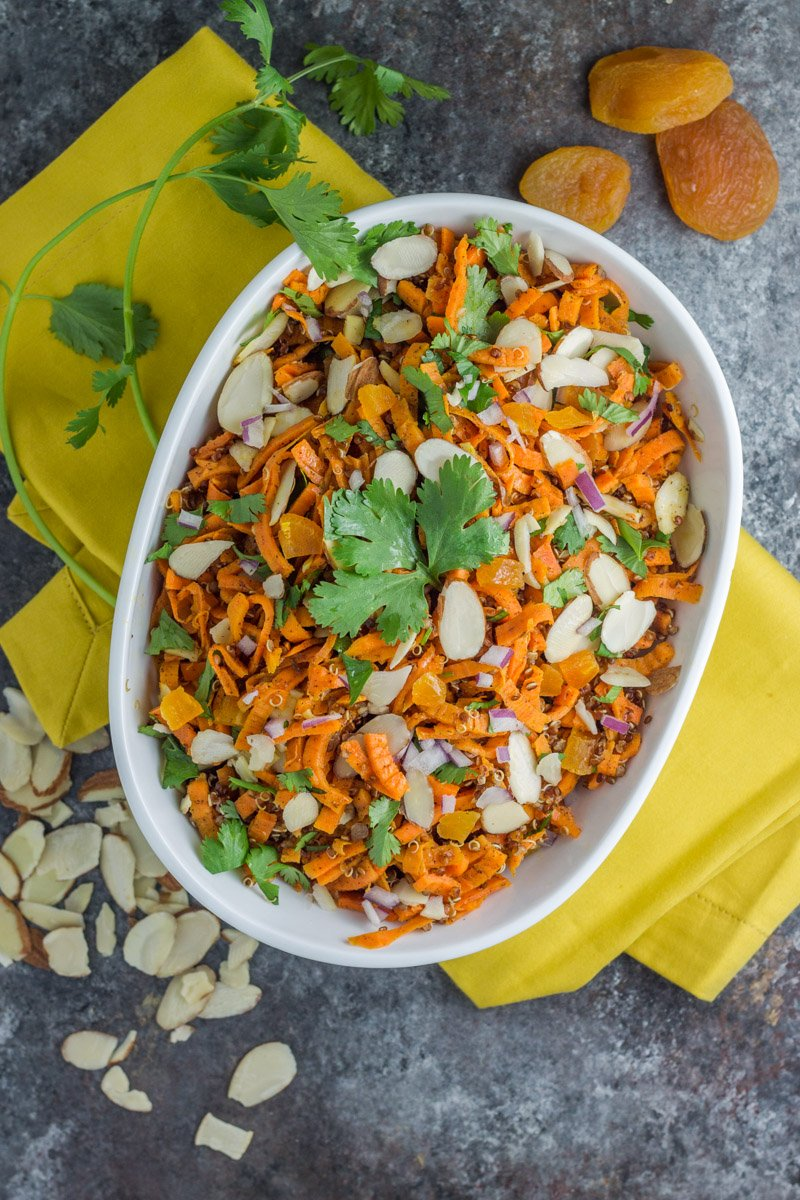 This healthy sweet potato quinoa moroccan salad can be served warm or cold - it's delicious!
