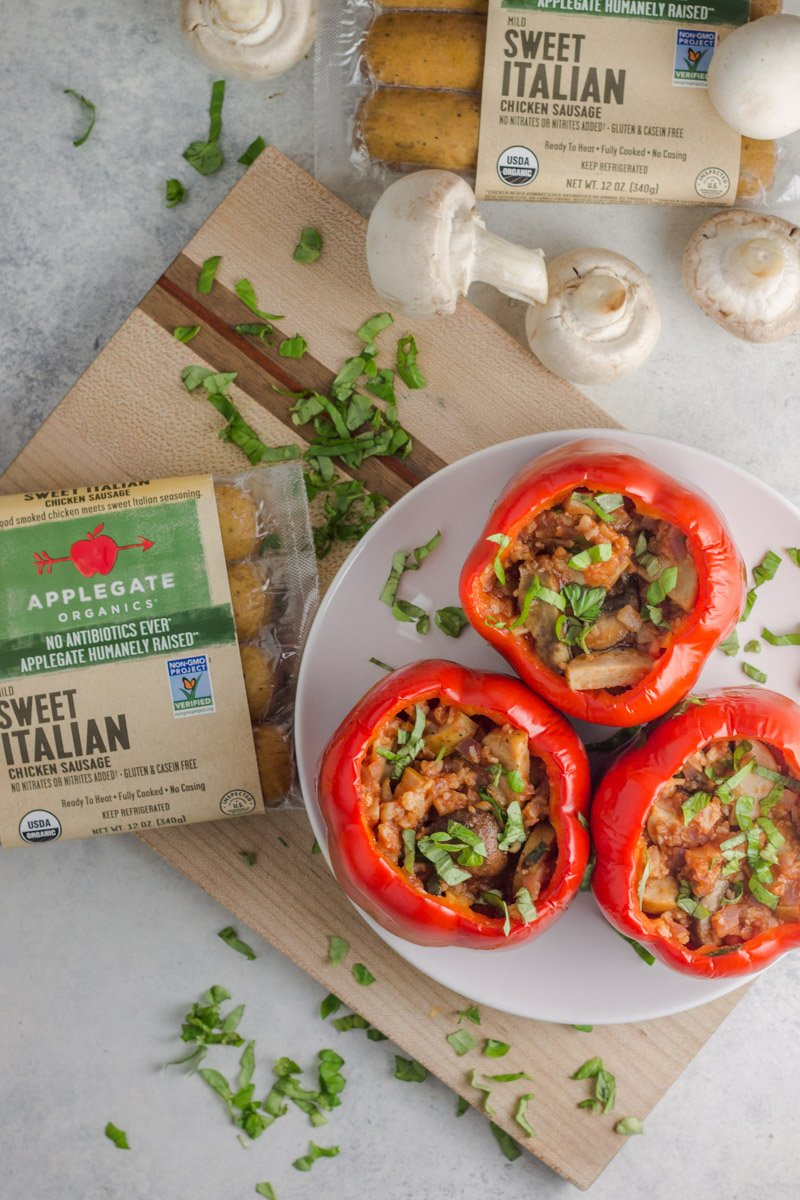These Whole30 compliant stuffed peppers with Italian chicken sausages are an amazing and easy dinner recipe!