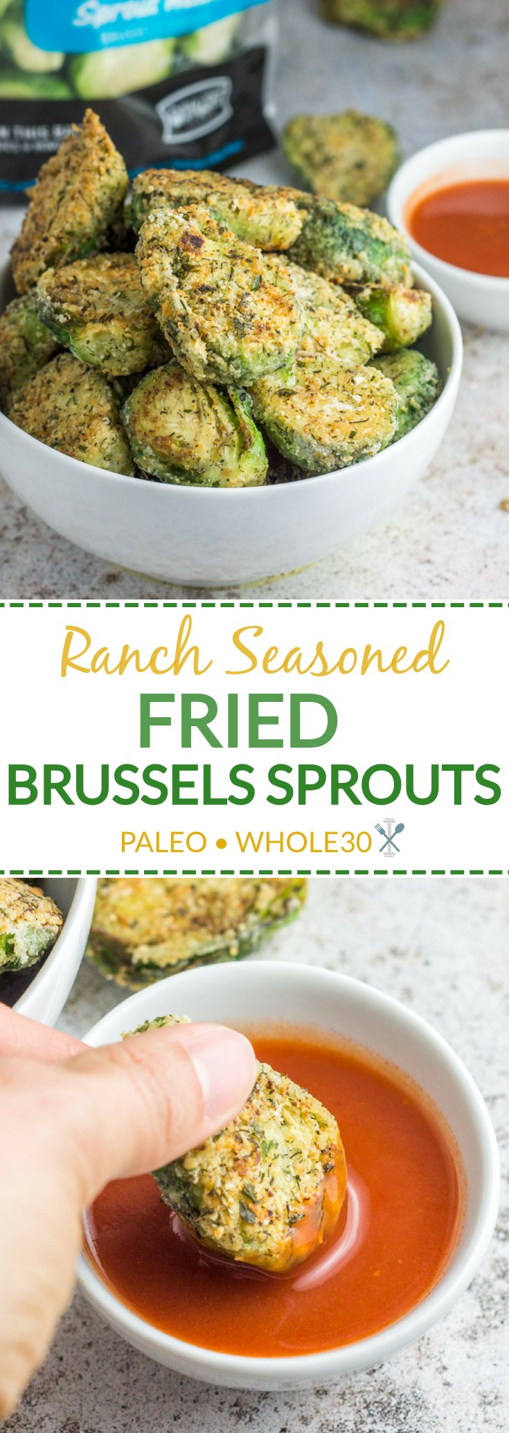These paleo + Whole30 Ranch Seasoned Fried Brussels Sprouts are a quick and easy veggie side pan-fried to perfection in 20 minutes or less using Ocean Mist Farms Season & Steam Brussels Sprouts #ad