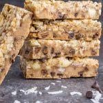 These healthy, nutty cookie dough bars are made with real food ingredients, dairy free and gluten free! My FAVORITE healthy dessert ever