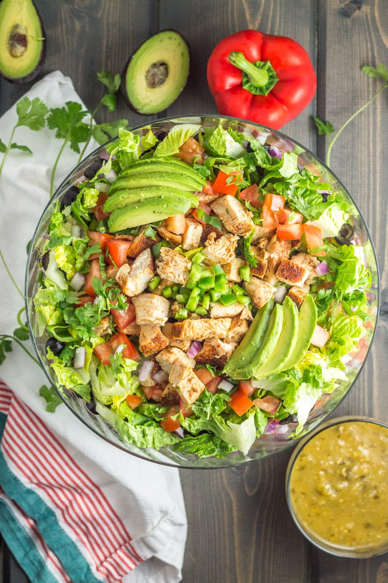 This cold taco salad with chicken is a paleo and Whole30 party favorite!