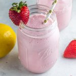 Naturally sweetened with just 5 ingredients - the best paleo strawberry milkshake! Dairy free