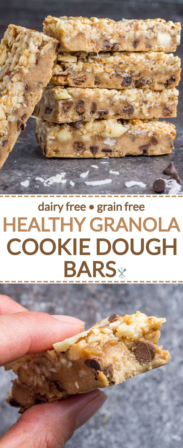 These healthy, nutty cookie dough bars are made with real food ingredients, dairy free, gluten free, grain free! My FAVORITE healthy dessert ever and naturally sweetened