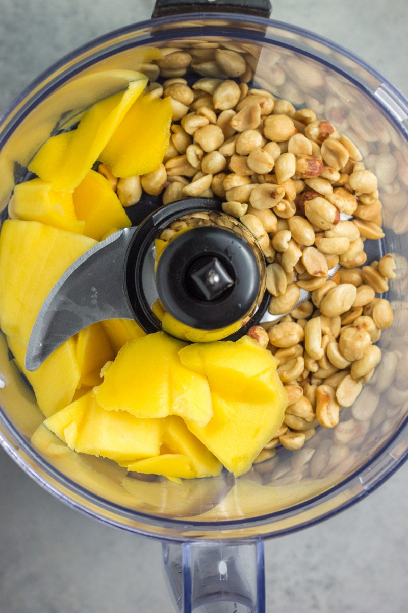 Ingredients for a delicious honey mango peanut butter
