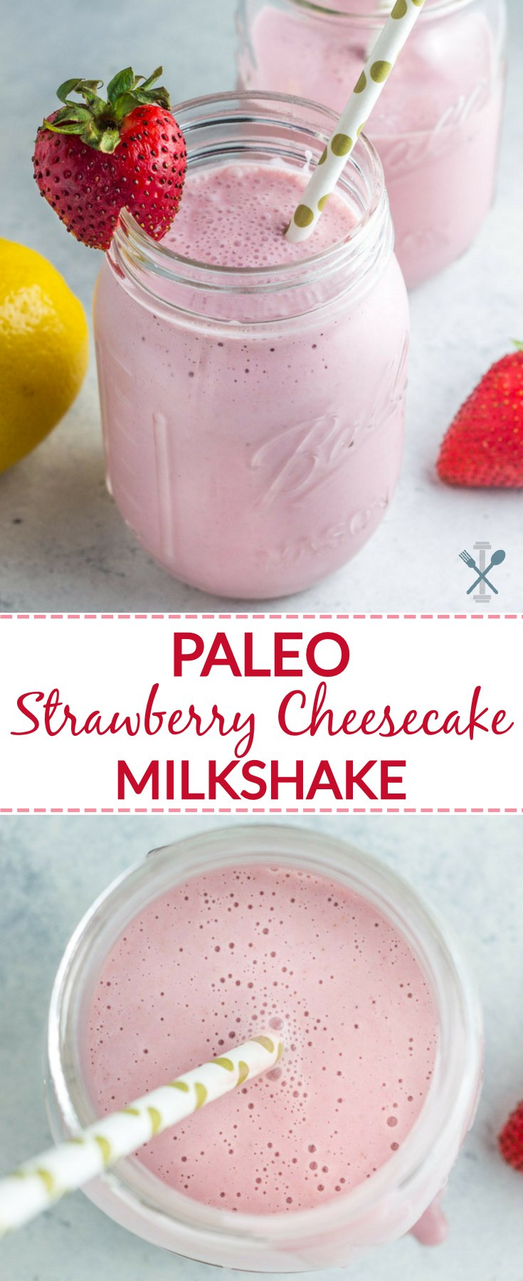 A dairy free, paleo 'milkshake' that looks and tastes decadent, but is actually healthy! Simple ingredients, naturally sweetened, easy to make. This paleo strawberry cheesecake milkshake is a perfect cool treat.