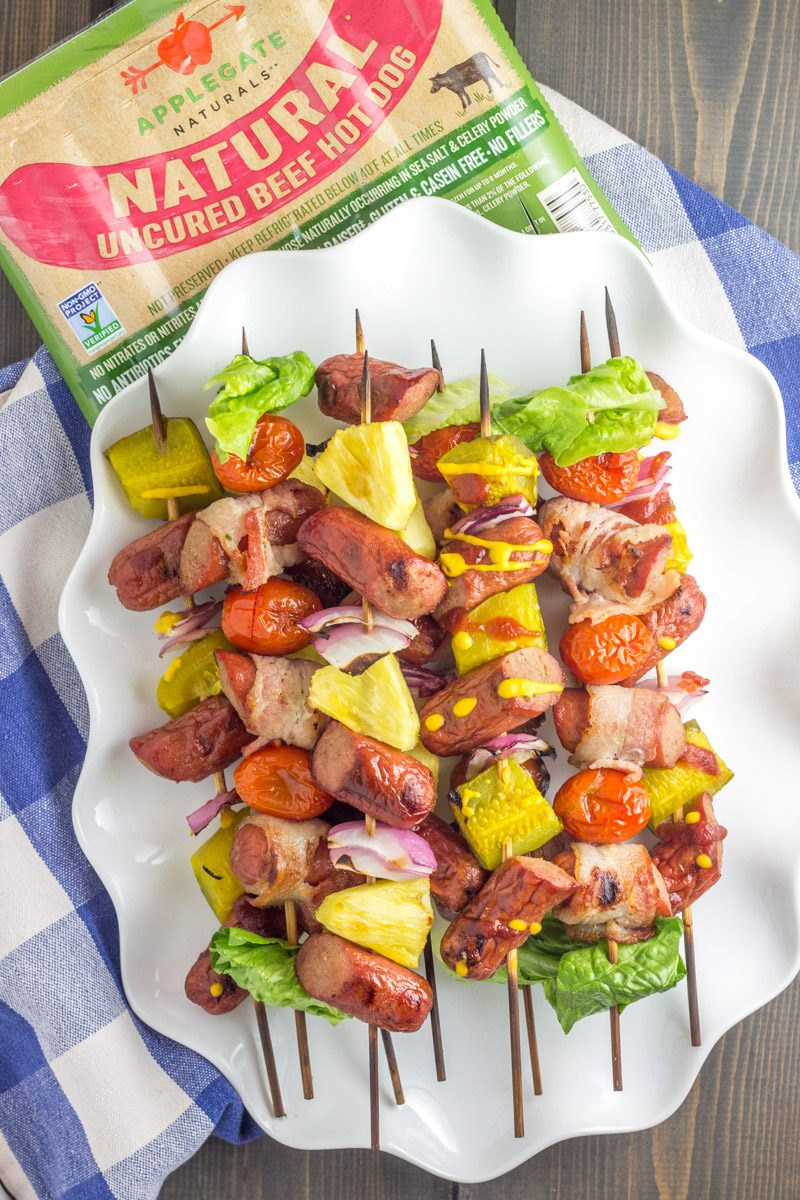 These Whole30 hot dog skewers have three different combos for the easiest summer Whole30 meal ever!