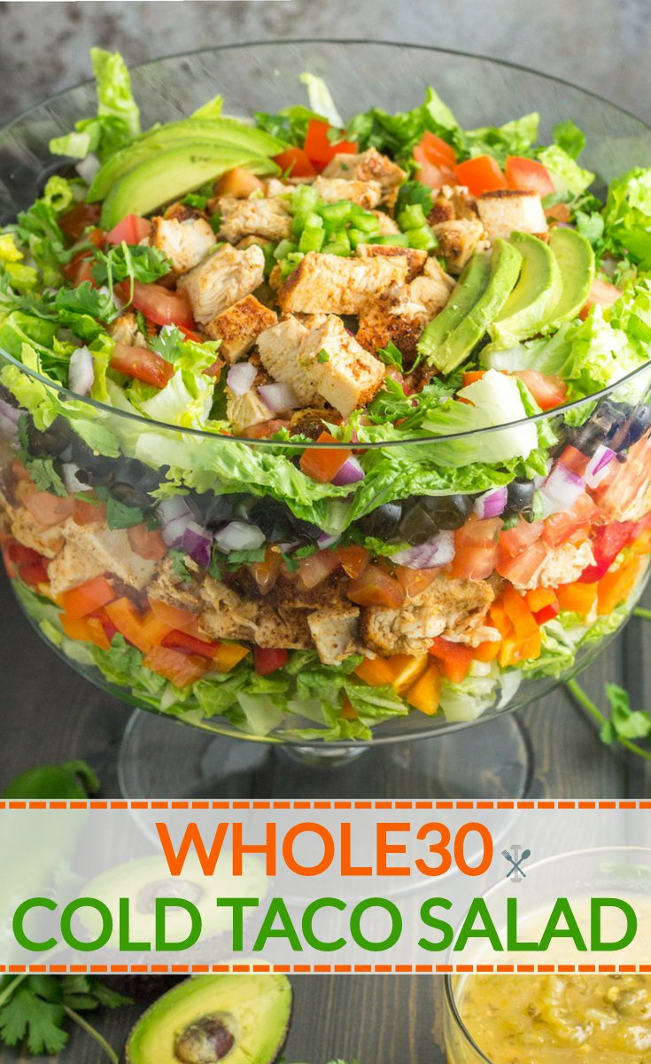 The perfect summer salad to feed a crowd! This Whole30 layered cold taco salad is a party favorite. Paleo, dairy free & gluten free