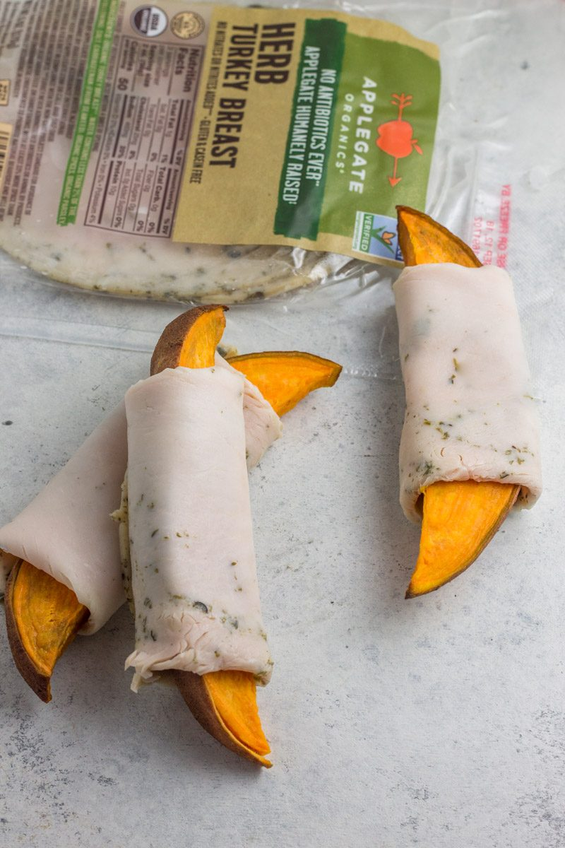 Sweet potato wedges wrapped in herbed turkey deli meat - a healthy, paleo lunch or snack!