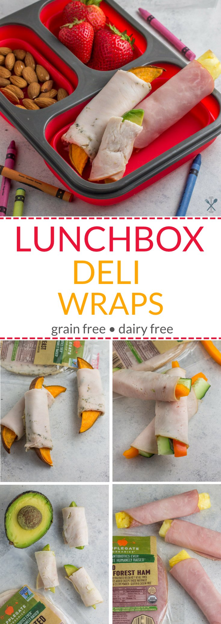 These lunchbox deli wraps are fun ideas to fit in protein, veggies, and healthy fats for back to school. Grain free, dairy free, paleo options.