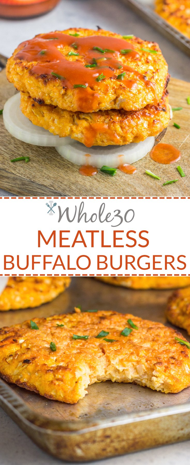 These meatless burgers are the perfect addition to any Whole30! Easy to make, simple ingredients, and tons of flavor! Vegetarian & Paleo, Grain Free & Dairy Free
