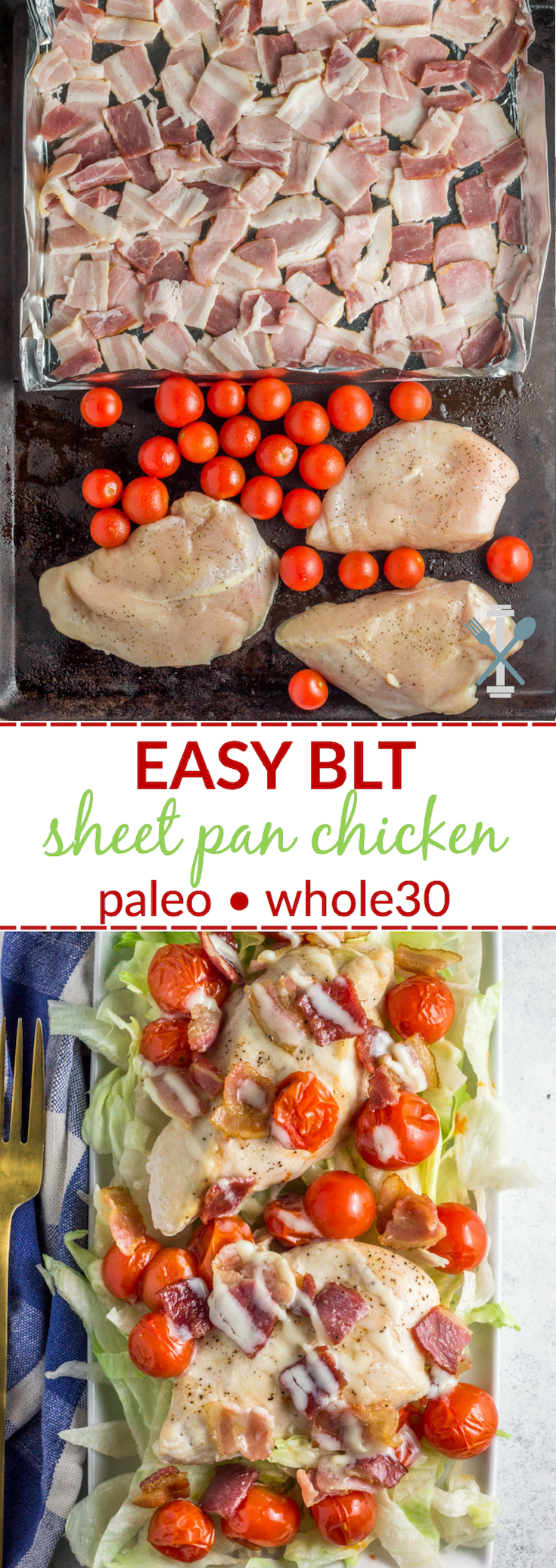 This paleo and Whole30 compliant sheet pan chicken is SO easy and you won't even miss the bread. A delicious dinner in 30 minutes or less