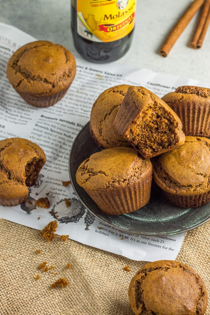 Grain free, dairy free muffins made with peanut butter and rich gingerbread spices!