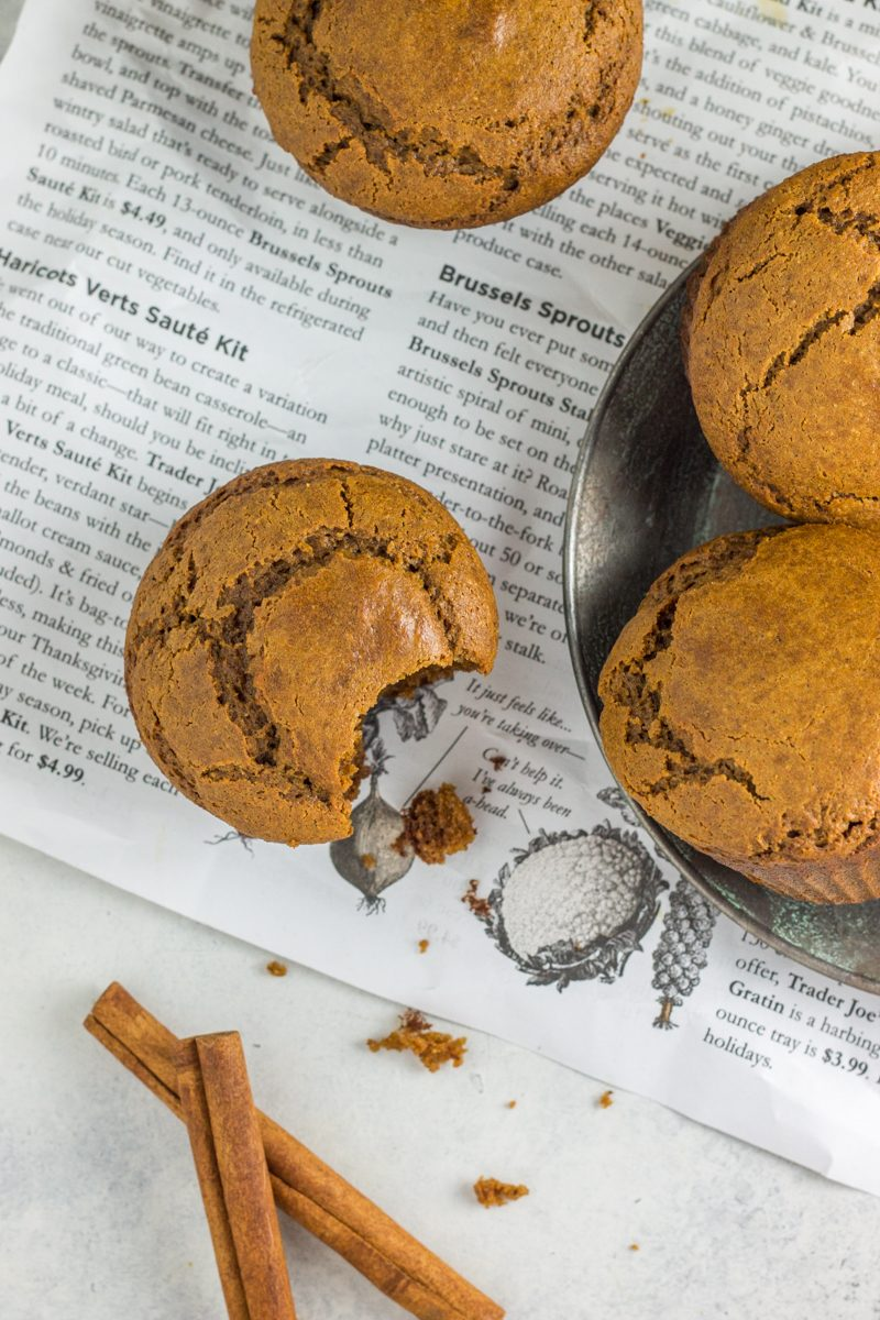 These healthy peanut butter muffins are grain free and dairy free, with a hint of gingerbread!