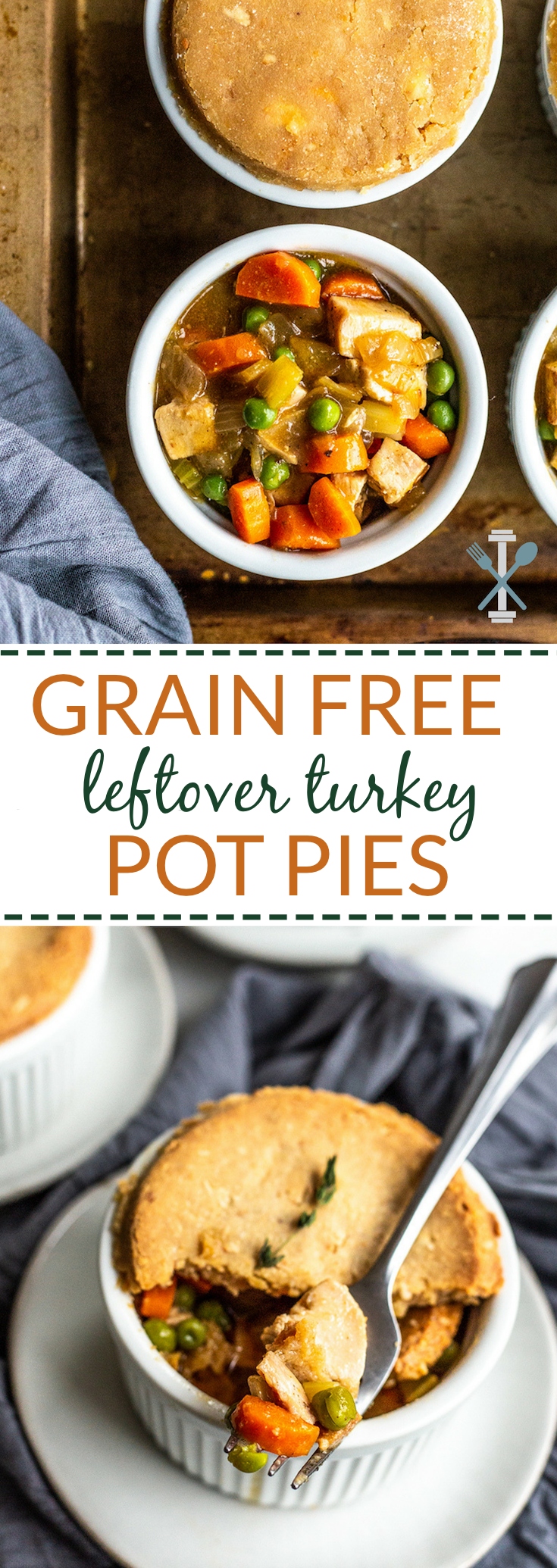 These grain free leftover turkey pot pies are a healthy version of a classic comfort dinner. Paleo & Whole30 option.
