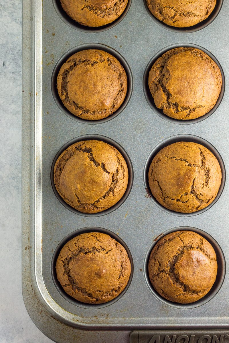 Gluten free muffins with a hint of peanut butter and gingerbread. The perfect muffins this holiday season