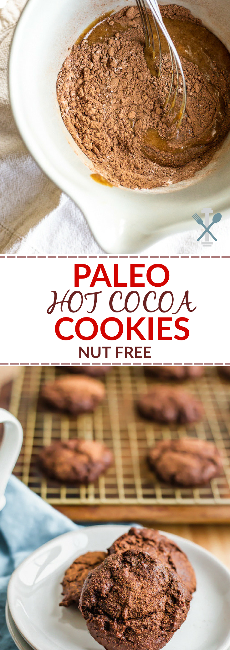 These paleo hot cocoa cookies are a nut free, dairy free holiday treat with a decadent, chewy inside. Grain free and naturally sweetened