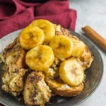 This gluten free slow cooker french toast is a delicious, healthy breakfast with a bananas foster topping everyone will love