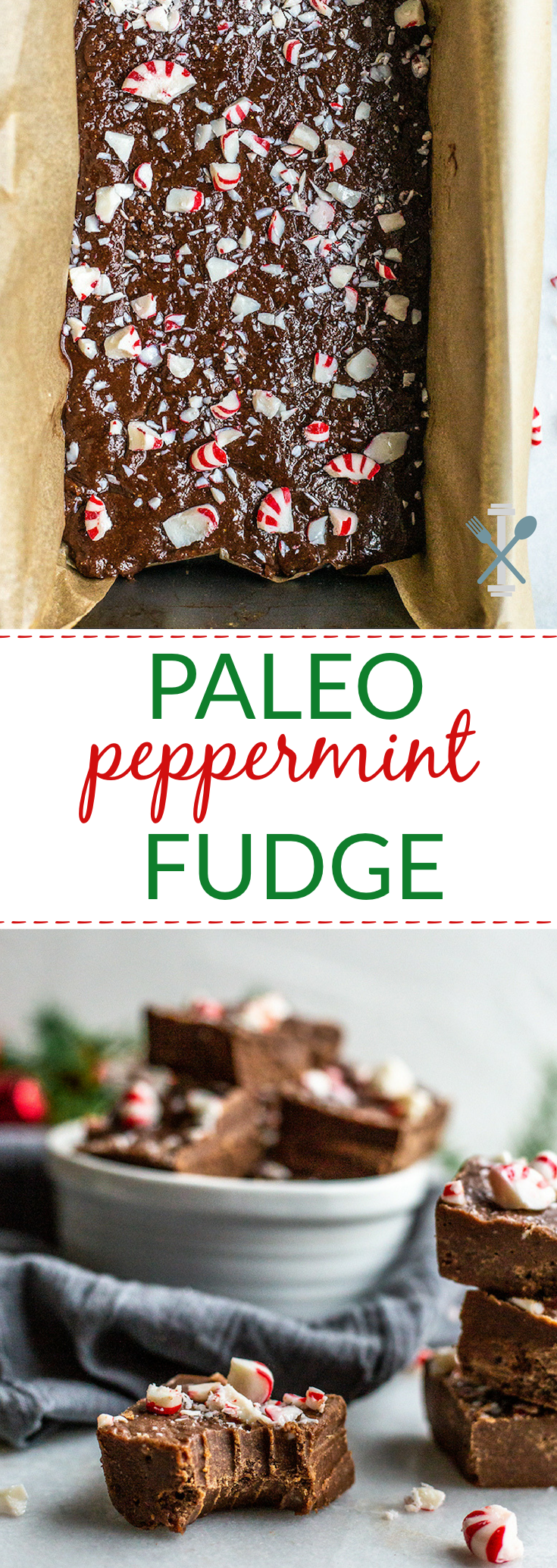This dairy free, paleo peppermint fudge is a simple yet decadent holiday treat! Naturally sweetened