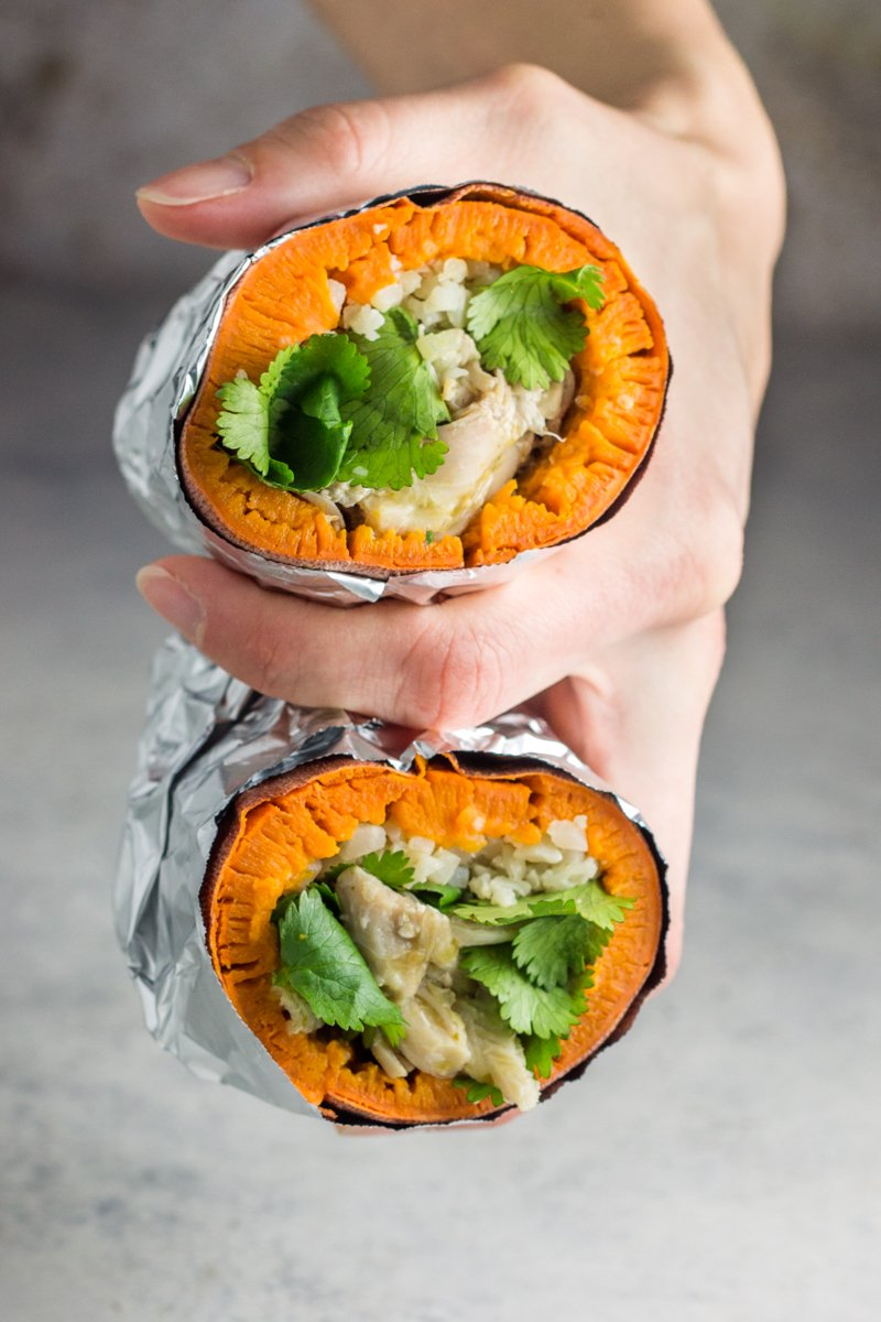 Stuffed sweet potato burritos