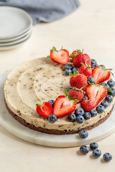 Paleo & Vegan Chocolate Chip Cheesecake with Cocoa Crust