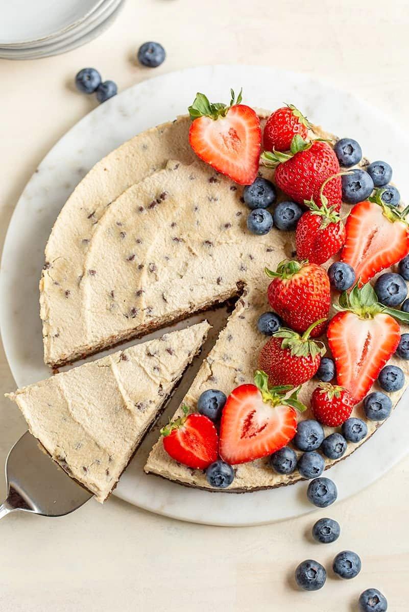 Paleo Vegan Chocolate Chip Cheesecake with Cocoa Crust