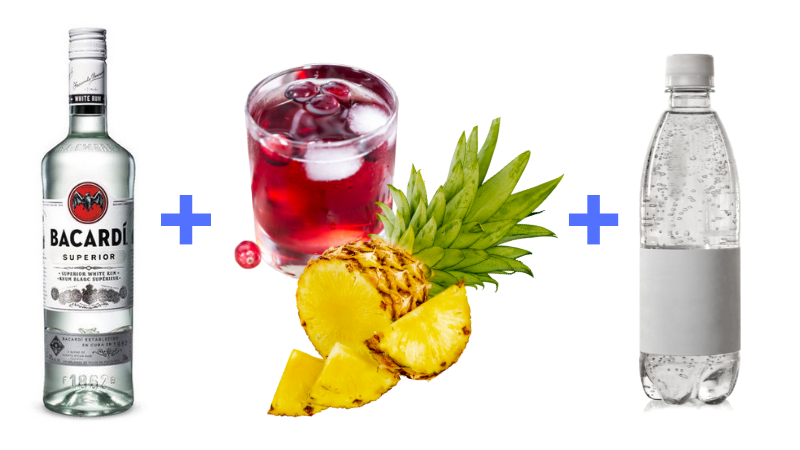 Rum Cranberry Pineapple Light Cocktail