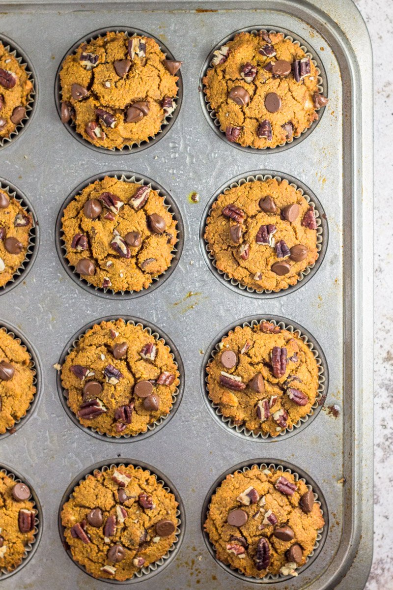 Chocolate pecan pumpkin muffins